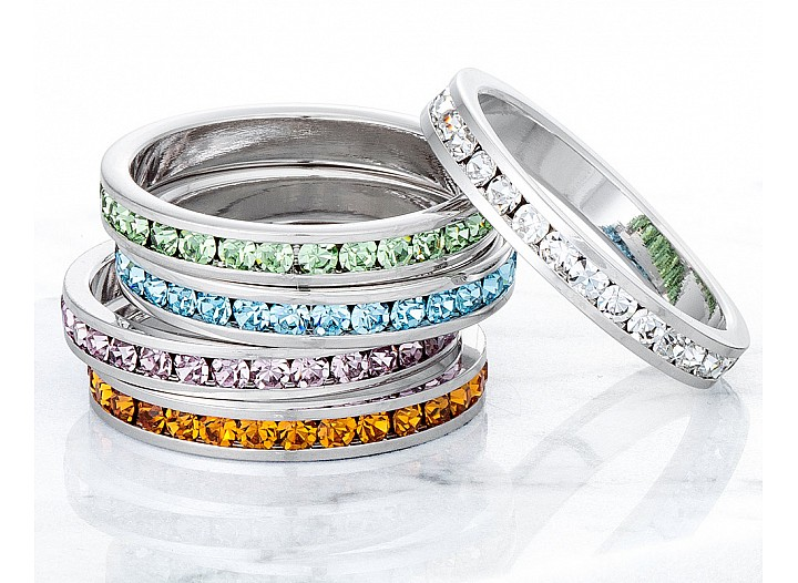 Sparkly Stackable Light Green Crystal Eternity Band